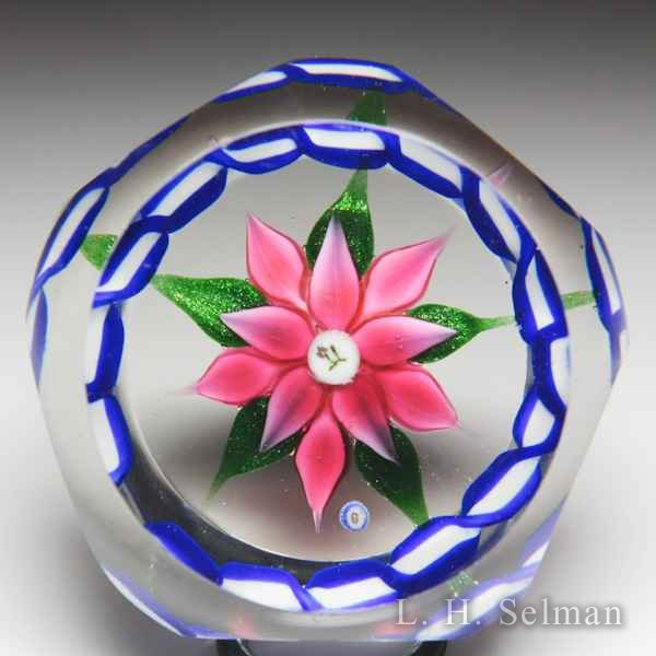 Bob Banford pink double clematis and garland miniature faceted glass paperweight. by Bob Banford