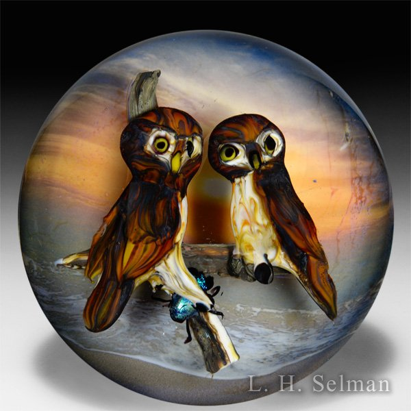 "Rick Ayotte 2006 ""Wonders of the Night"" owl pair magnum glass paperweight. by Rick Ayotte"
