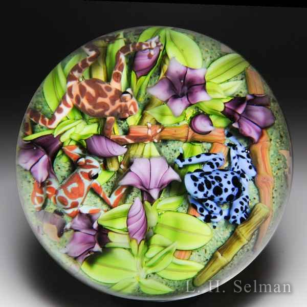 "Clinton Smith 2015 ""Frogs Poison Dart Trio"" and purple morning glories glass paperweight. by Clinton Smith"