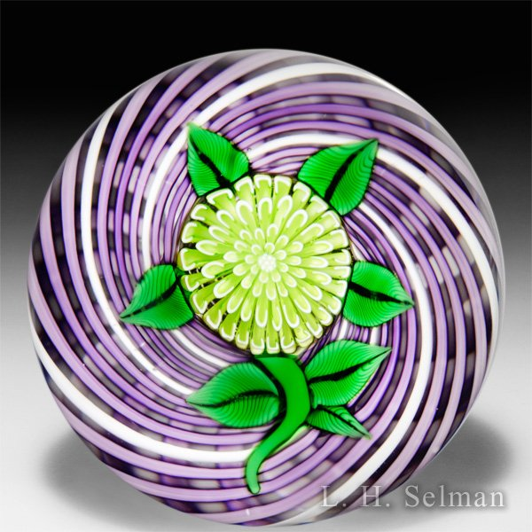 John Deacons 2015 charteuse pompon on purple latticinio glass paperweight. by John Deacons