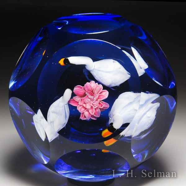 Rick Ayotte 2008 muted swan family faceted magnum glass paperweight. by Rick Ayotte