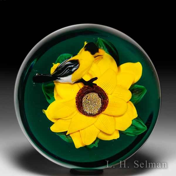 Rick Ayotte 2009 sunflower and goldfinch magnum glass paperweight. by Rick Ayotte