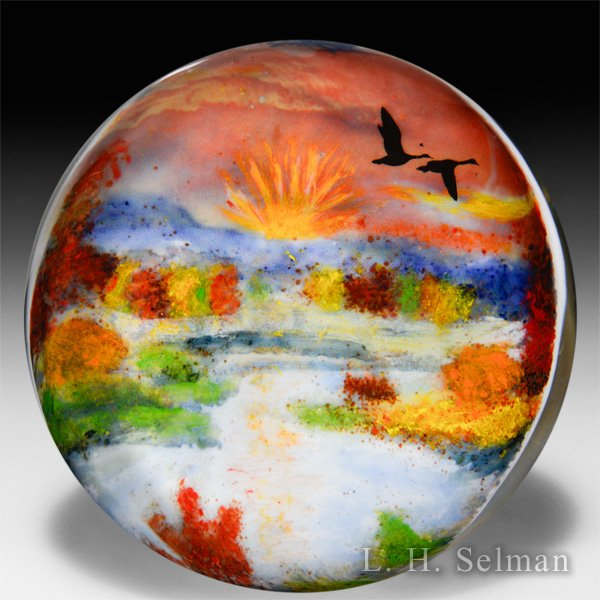 "Rick Ayotte 2015 Artist Proof ""Sunrise in the Meadow"" Glasscape magnum glass paperweight. by Rick Ayotte"