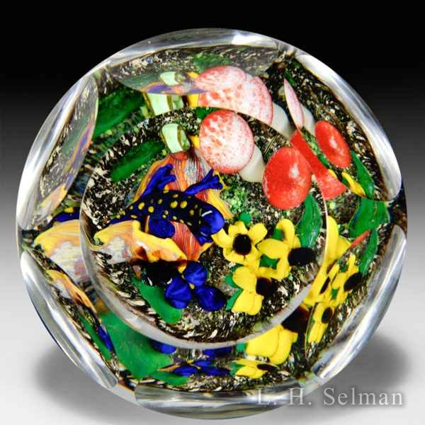 "Rick Ayotte 2011 ""Forest Delight"" spotted salamander in woodland scene magnum faceted glass paperweight. by Rick Ayotte"