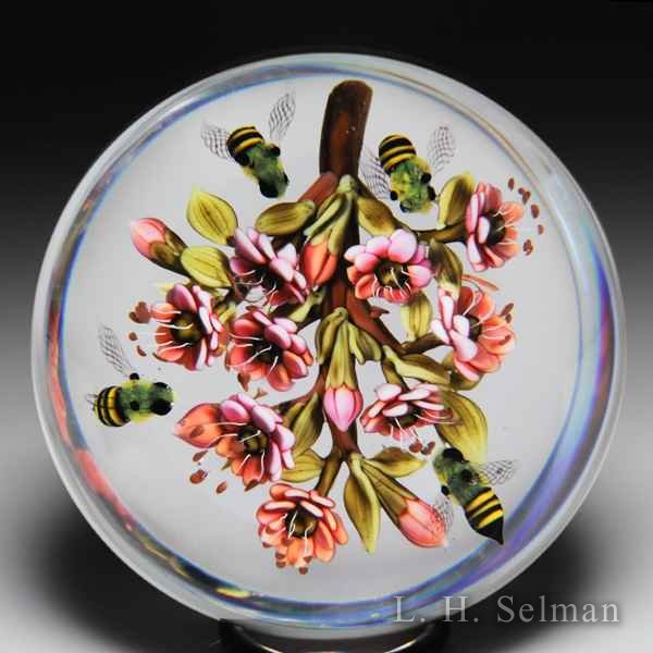 "Clinton Smith 2016 ""Bees with Pink Flower"" branch glass paperweight. by Clinton Smith"