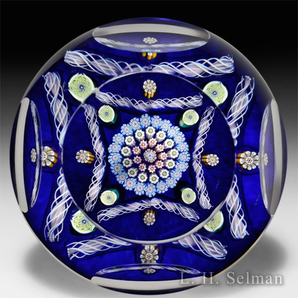 "John Deacons 2016 ""Fortress"" patterned millefiori faceted glass paperweight. by John Deacons"