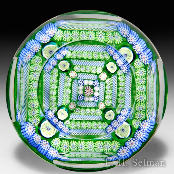 "John Deacons 2016 ""Fortress"" square patterned millefiori faceted glass paperweight. by John Deacons"