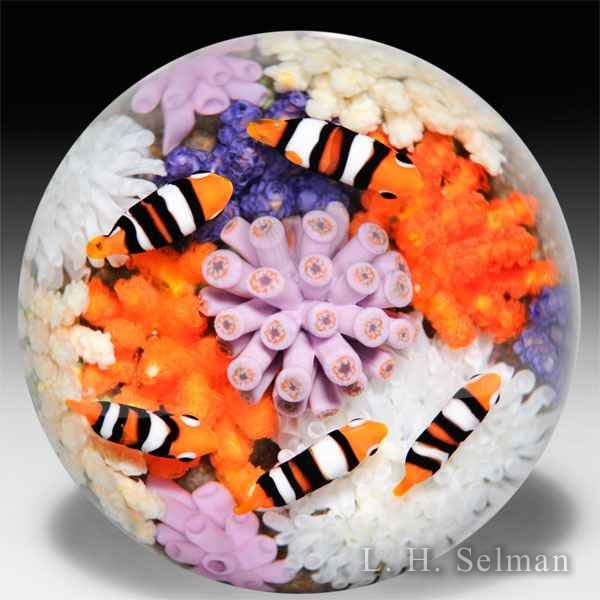 Cathy Richardson 2016 Anemone and Clown Fish glass paperweight. by Cathy Richardson