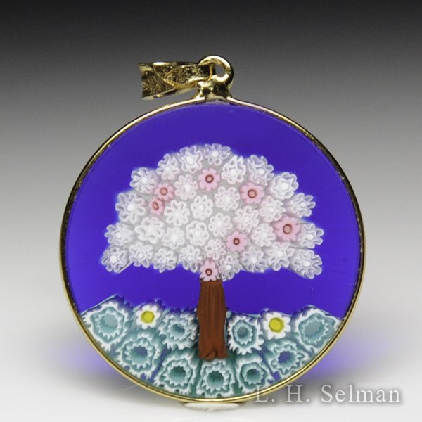 Antica Murrina Veneziana, Murrano glass millefiori lavendar and pink tree pendant. by  Misc Modern