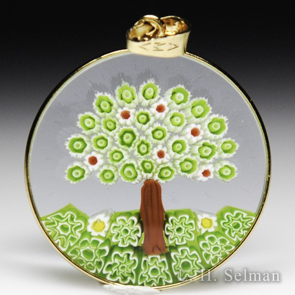 Antica Murrina Veneziana, Murrano glass millefiori green and red flower tree pendant. by  Misc Modern