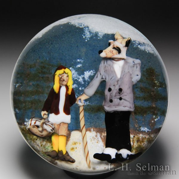 "Jim D'Onofrio 2006 ""Little Red Riding Hood and the Wolf"" compound glass paperweight.  by Jim D'Onofrio"