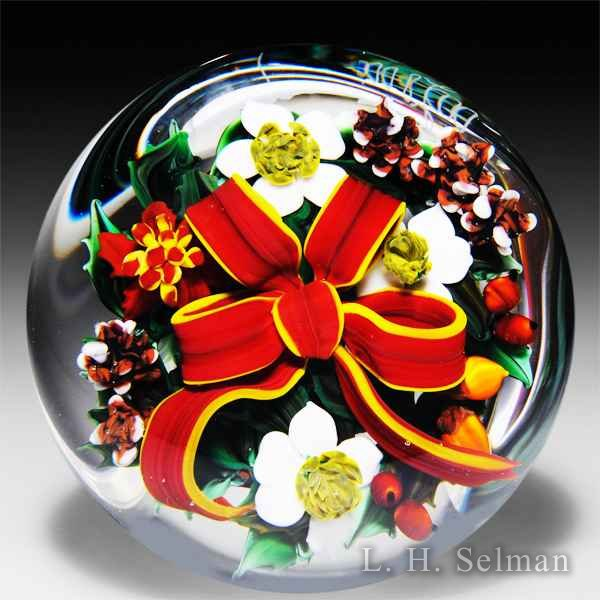 Rick Ayotte 1987 'Christmas Bouquet' glass paperweight by Rick Ayotte