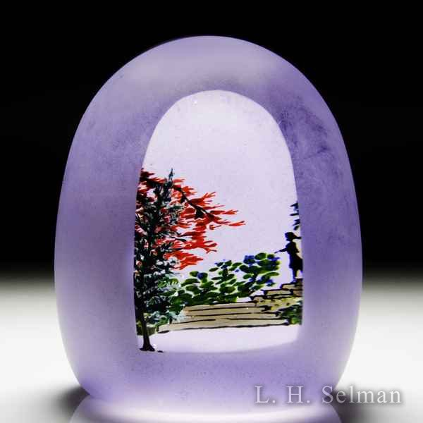 Alison Ruzsa 2016 'Deep Purple Dream' descending silhouette glass paperweight. by Alison Ruzsa