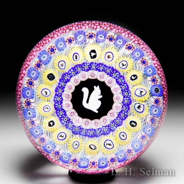 Baccarat 1972 Gridel squirrel and concentric millefiori glass paperweight. by Baccarat Moderns