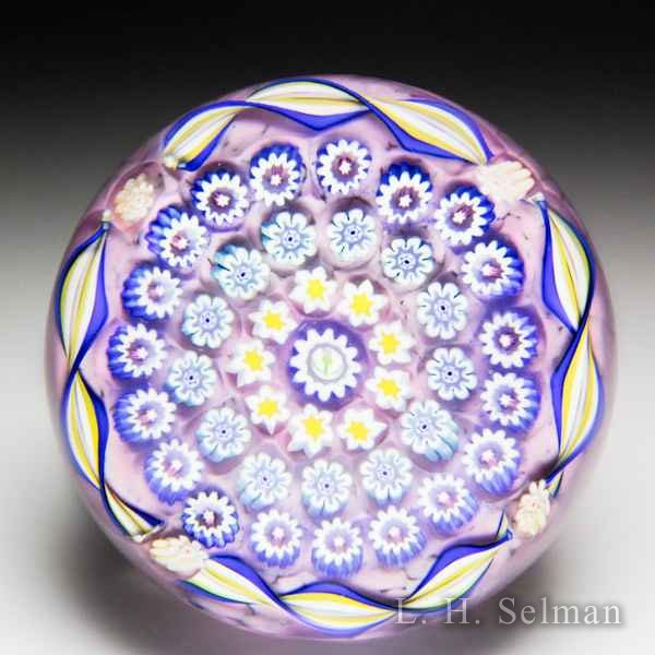 John Deacons (2016) purple spaced millefiori and twists paperweight. by John Deacons