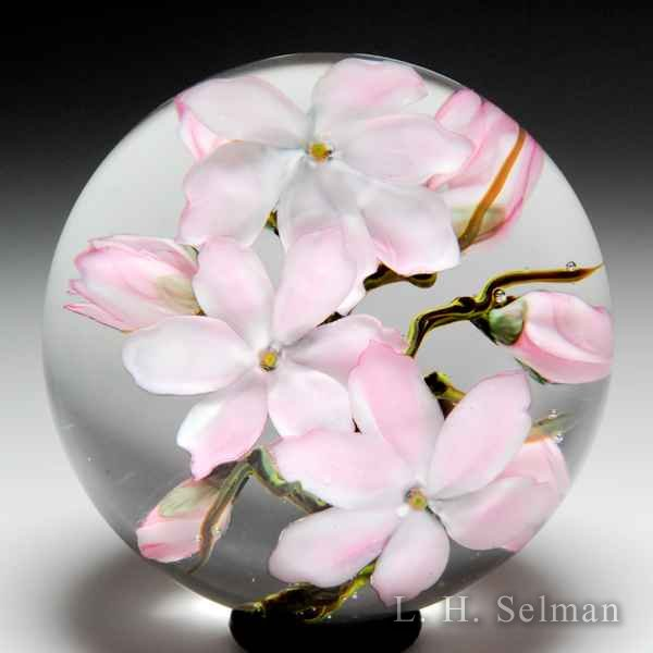 Lundberg Studios 2009 pink cherry blossoms compound glass paperweight. by  Lundberg Studios