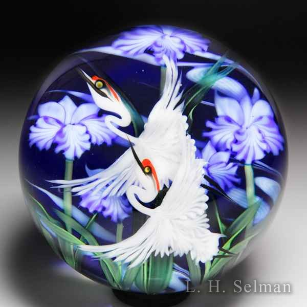 Lundberg Studios 2014 'White Cranes and Iris' compound glass paperweight, by Daniel Salazar. by  Lundberg Studios