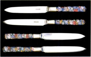 The Art of the Paperweight Lawrence H. Selman -Set of knives with Venetian glass handles