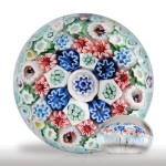 Lot 9 Rare antique Bacchus cruciform close concentric millefiori in a stave basket paperweight
