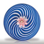 Lot 45 Antique Clichy blue and white swirl miniature paperweight