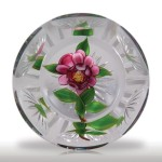 Lot 100 Debbie Tarsitano pink rose faceted paperweight