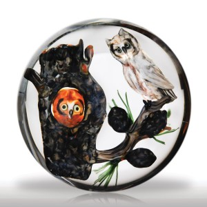 Lot 116 Rick Ayotte 1984 Artist Proof pair of owls paperweight