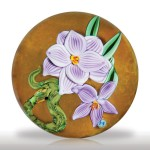 Lot 165 Eric Hansen 2006 snake and two blossoms paperweight