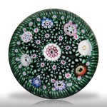 Lot 230 Drew Ebelhare 1998 spaced millefiori green stave basket miniature paperweight