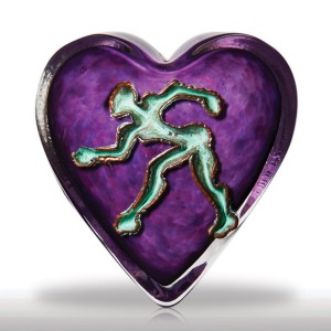 "Lot 259 Andrew Fote ""The Seeker"" copper figure on purple heart-shaped paperweight"