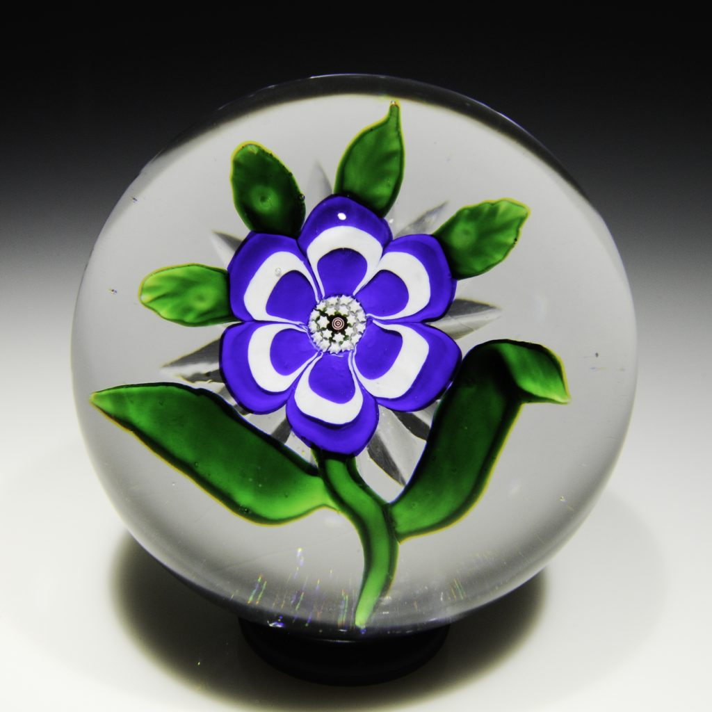 Antique Baccarat blue primrose star-cut paperweight. From the Rubloff Collection. Excellent condition. Diameter 2 9/16""