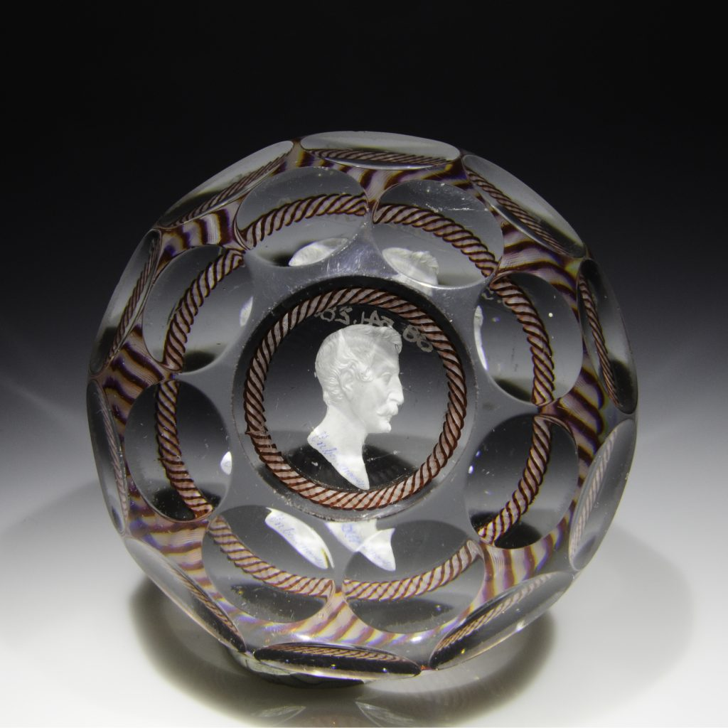 Antique Baccarat Napoleon III with red and white torsade faceted paperweight. From the Rubloff Collection. Good condition. Diameter 3 1/16""