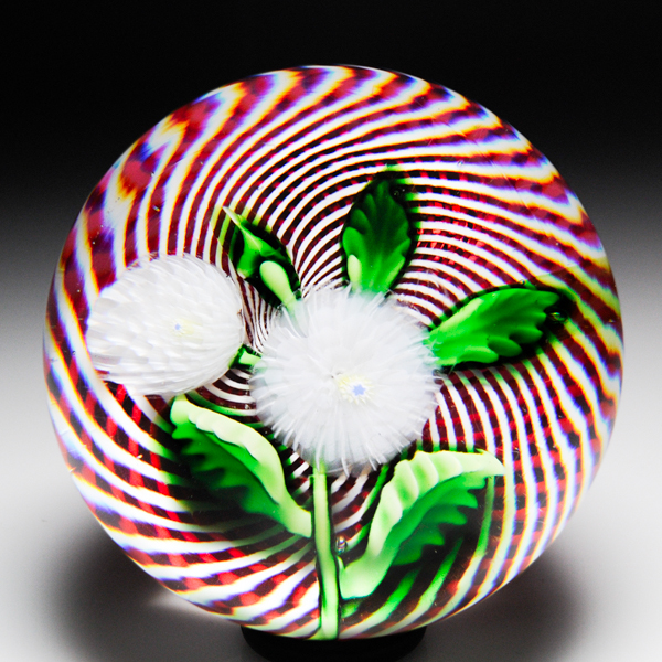 Extremely rare Saint Louis pompoms swirl paperweight.