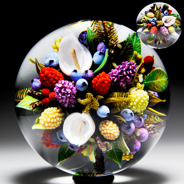 David Graeber 2014 fruit and floral paperweight.