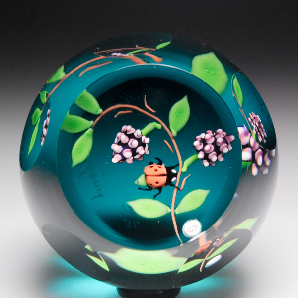 """Caithness Glass """"Ladybird"""" paperweight, by William Manson."""