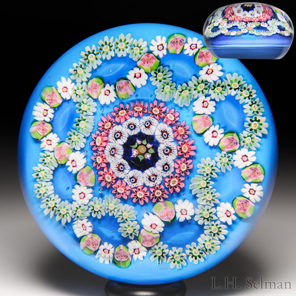 Antique Clichy interlaced millefiori quatrefoil garlands paperweight.