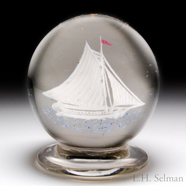 Very rare Millville frit sailing ship pedestal paperweight.