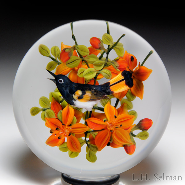 "Rick Ayotte 1986 ""American Redstart with Tiger Lilies""compound paperweight."