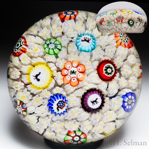 "Rare Antique Baccarat 1848 ""Choufleur"" Gridel Silhouettes And Millefiori Carpet Ground Paperweight."