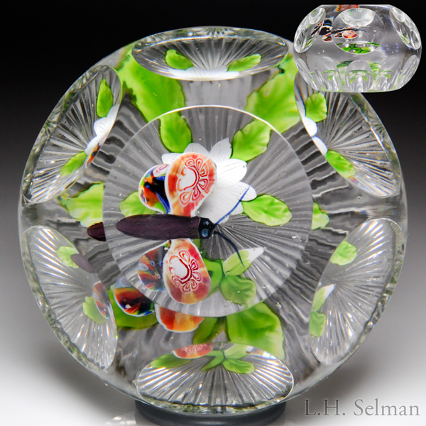 Spectacular Antique Baccarat Butterfly Over White Double Clematis Compound Faceted Paperweight