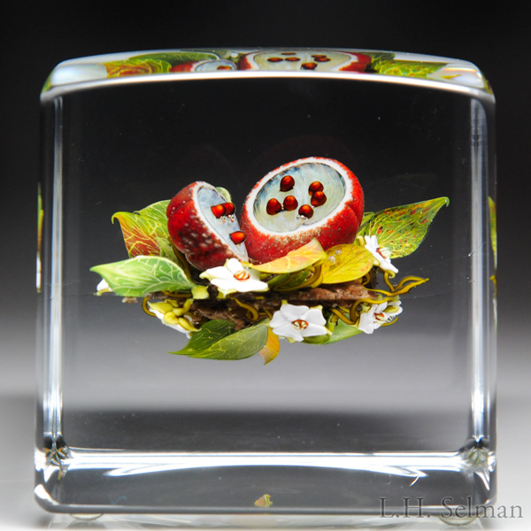 Paul Stankard Passion Fruit Cube Paperweight