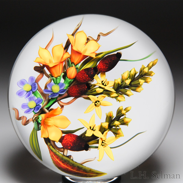 Chris Buzzini 2012 Bellflower Bouquet Paperweight