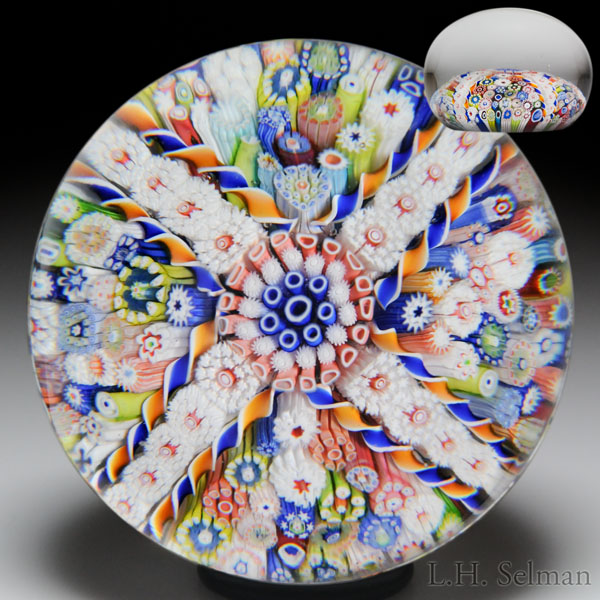 Rare antique Saint Louis four-panel close packed millefiori paperweight.