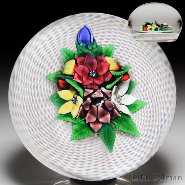 Very rare antique New England Glass Company sheaf of flowers and fruit on swirling latticinio magnum paperweight.