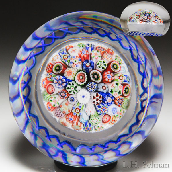 Rare antique Baccarat close packed millefiori stardust mushroom paperweight