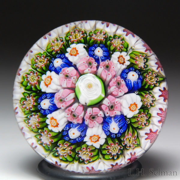Antique Clichy close concentric millefiori miniature paperweight.