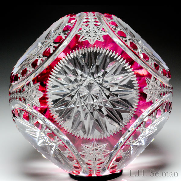 Antique Val Saint Lambert ruby overlay fancy-cut faceted paperweight.