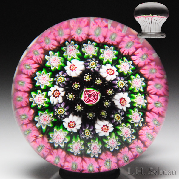 Very rare antique Clichy close concentric millefiori and rose miniature piedouche paperweight. Est. $15,000—18,000.