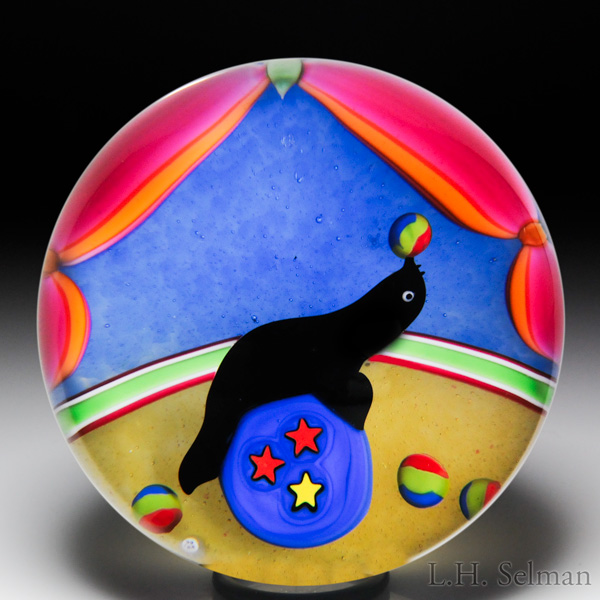 "Baccarat 1998 ""Otarie danseuse"" dancing seal paperweight, from the Circus series. Est. $1,000—1,400."