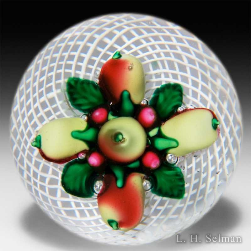 Antique New England Glass Company (NEGC) bouquet of fruit in latticinio basket glass paperweight by  American