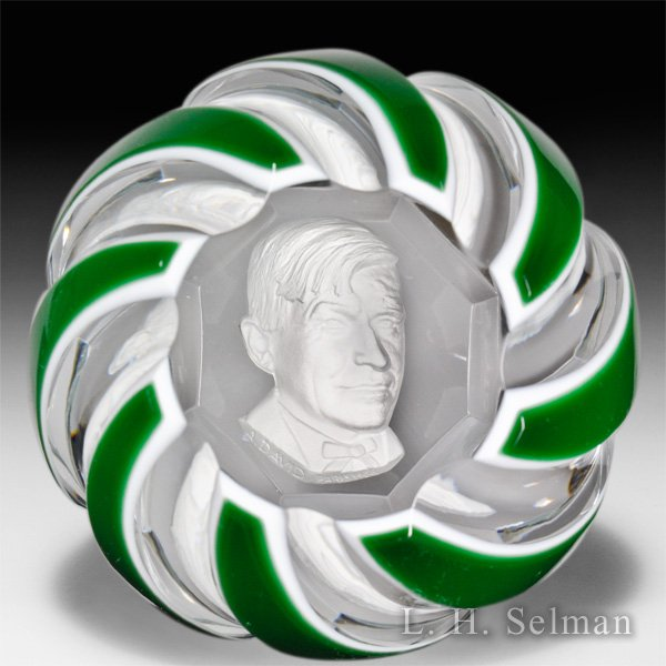 Baccarat 1966 Will Rogers sulphide double overlay faceted glass paperweight. by Baccarat Moderns
